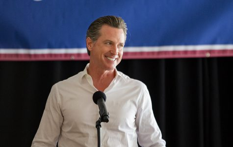Gubernatorial candidate Gavin Newsom speaking during a
