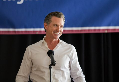 Gubernatorial candidate Gavin Newsom speaking during a bus stop rally on Nov. 2 at San Diego State.