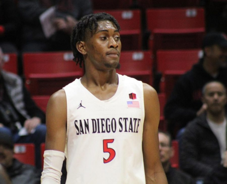 Sophomore+forward+Jalen+McDaniels+looks+onto+the+court+during+the+Aztecs%27+99-46+victory+over+Cal+State+Dominguez+Hills+on+Dec.+12+at+Viejas+Arena.