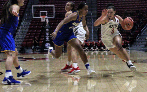 Freshman guard Mallory Adams attempts to drive to the hoop during the Aztecs' 63-58 loss to UCSB on Dec. 21 at Viejas Arena.