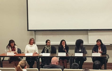 Daisy Galeana, Lida Raifa, Sara R. Roldan, Debra Sterling Roy, Irene Tassie and Tabitha Burke made up the Women in Leadership panel on Nov. 30.
