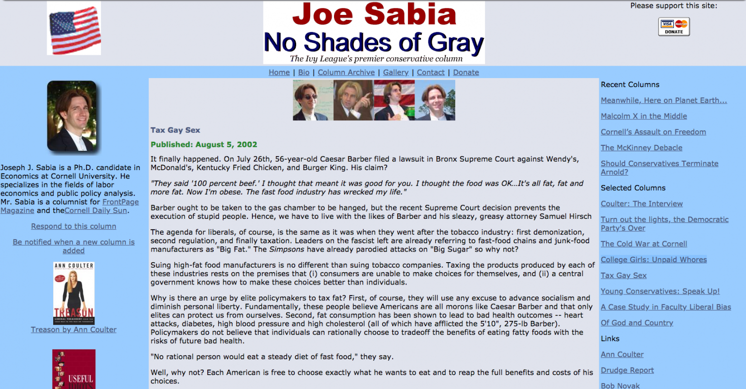 Economics professor Joseph Sabia's college blog has him in trouble, even leading the U.S. House Committee on Education and the Workforce to cancel a hearing he was set to testify at this afternoon.