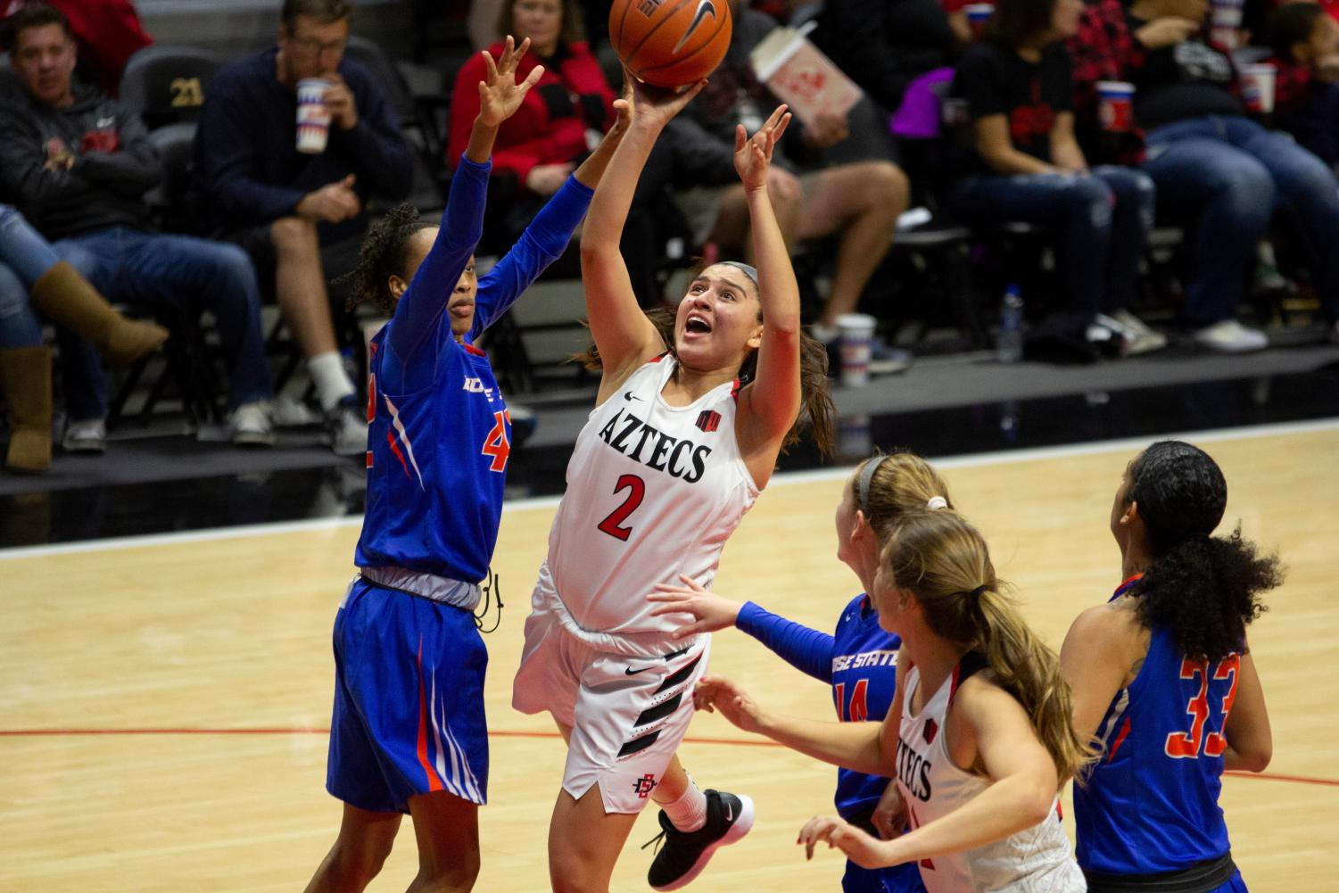 Then-freshman guard Sophia Ramos attempts a shot during the Aztecs 69-66 loss to Boise State on Jan. 5 at Viejas Arena.
