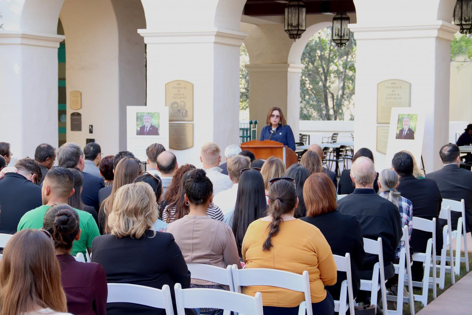 President Adela de la Torre addresses audience at Morteza Mehrabadi's naming event on Friday, Jan. 25 in the engineering building quad.