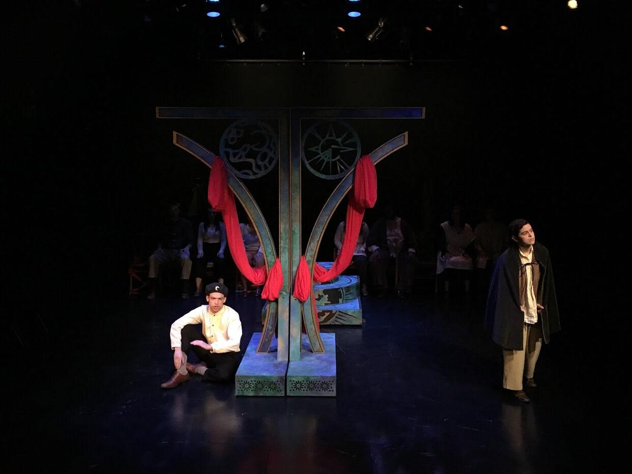 """Brenden Mokler played Romeo and Jonathan Esquer played Balthazar in """"R+J."""" Lighting design was by Chloe Oliana Clark, scenic design was by Jenni Baldwin and costume design was by Andi Bashe."""