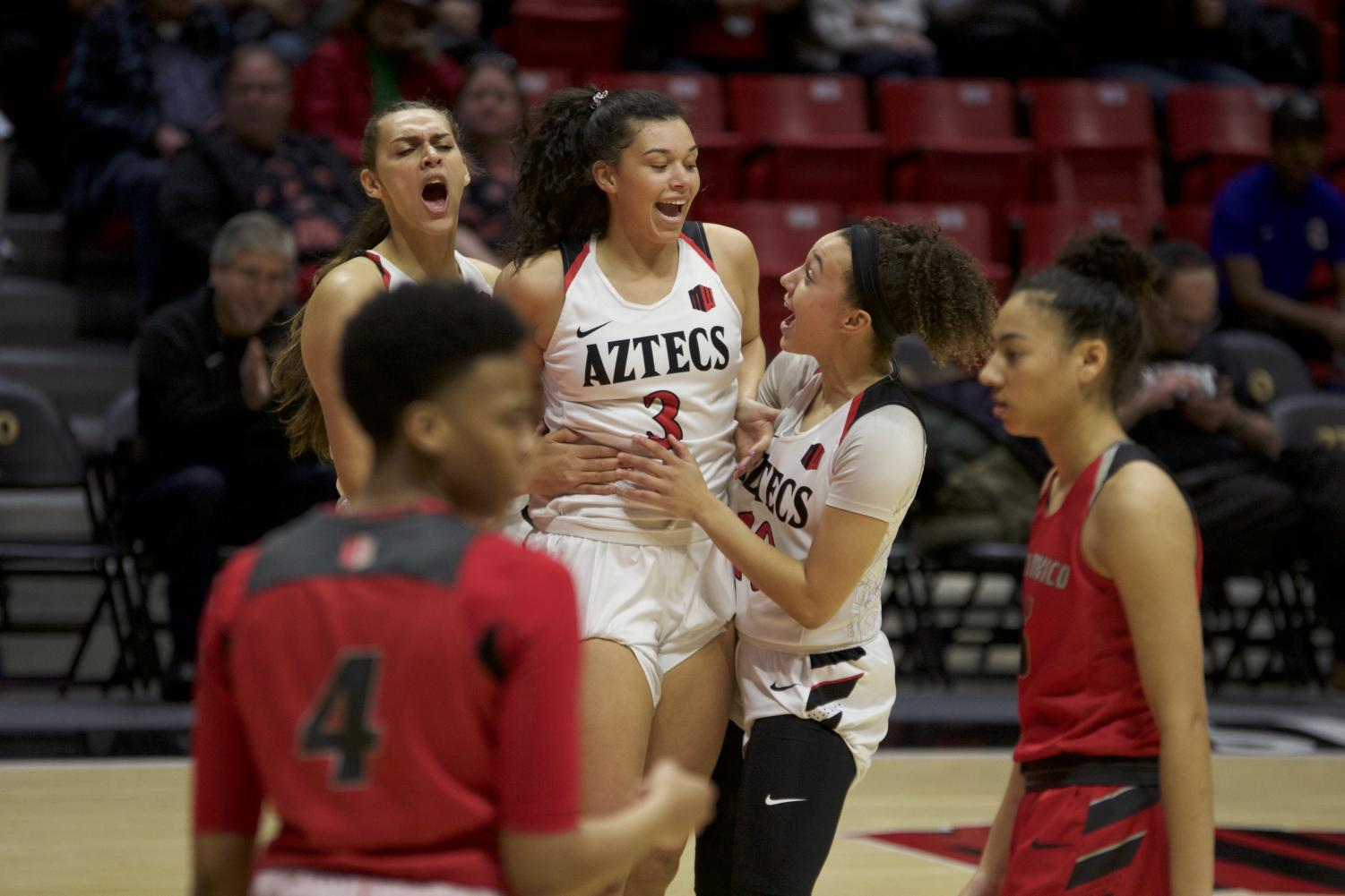 SDSU players celebrating during its 61-59 victory over New Mexico on Feb. 6 at Viejas Arena.