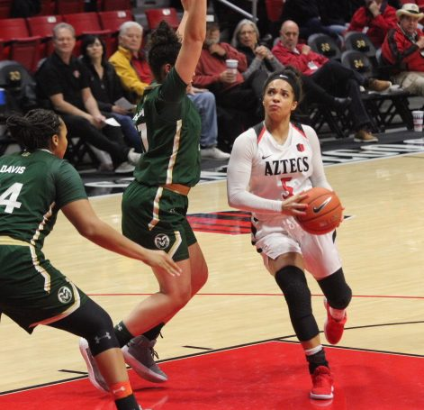 Then-sophomore Téa Adams attacks the post during the Aztecs' 54-45 victory over Colorado State last season on Feb. 13 at Viejas Arena.