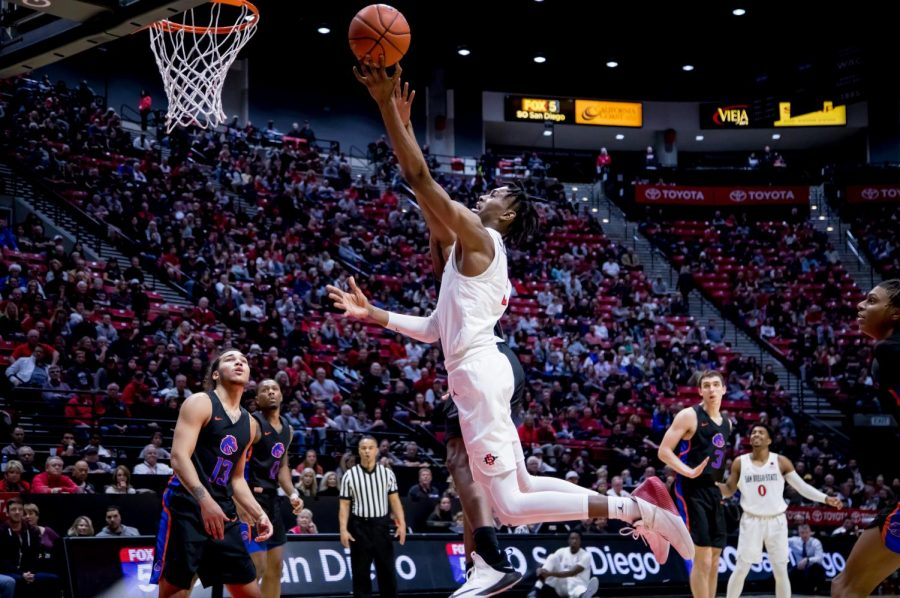 Redshirt+sophomore+forward+Jalen+McDaniels+attempts+a+layup+during+the+Aztecs%27+71-65+victory+over+Boise+State+on+Feb.+16+at+Viejas+Arena.
