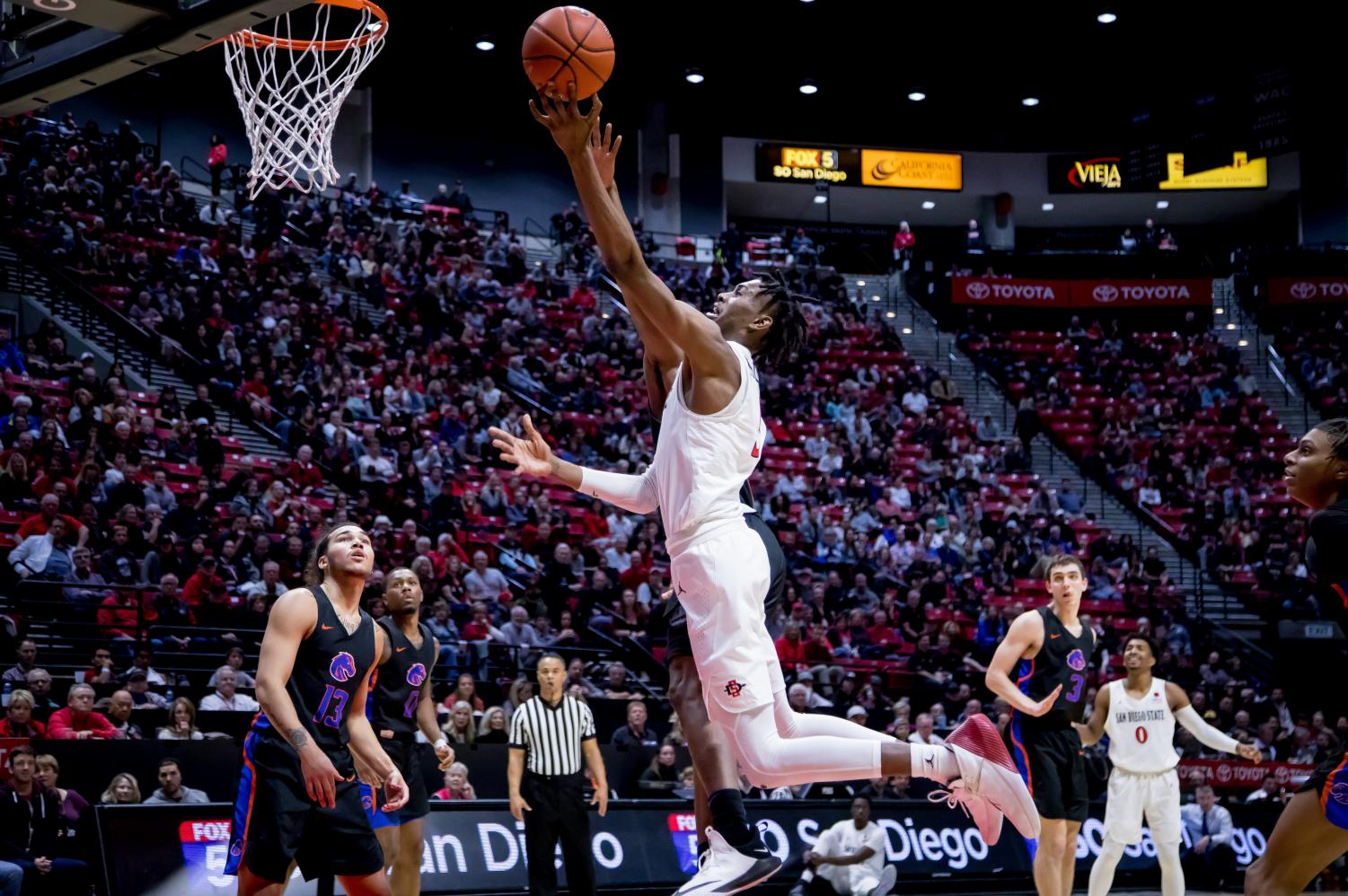 Redshirt sophomore forward Jalen McDaniels attempts a layup during the Aztecs' 71-65 victory over Boise State on Feb. 16 at Viejas Arena.