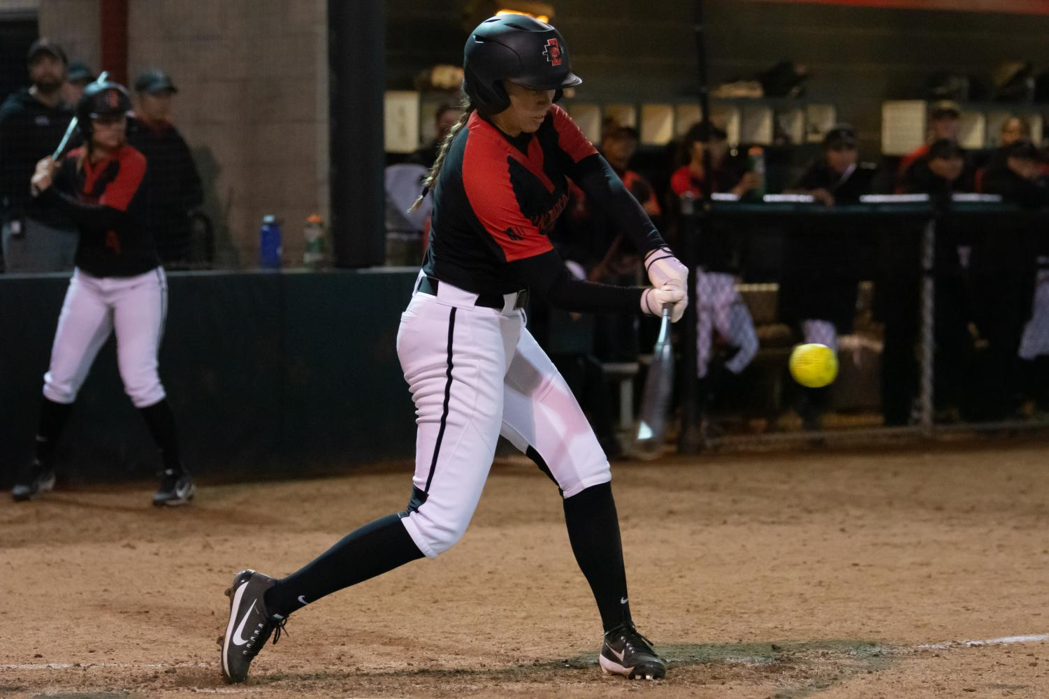 Junior infielder Alicia Garcia connects for a solo home run during the Aztecs' 7-5 victory over Northern Illinois on Feb. 15 at the SDSU Softball Field.