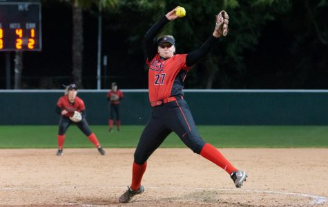 Redshirt freshman MJ James pitches during the Aztecs 8-0 loss to Grand Canyon on Feb. 16 at SDSU Softball Stadium.