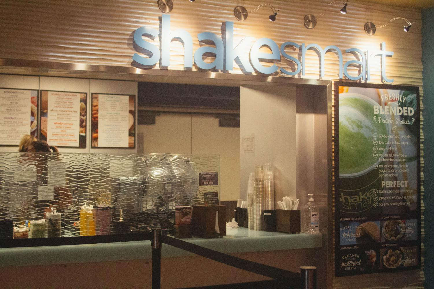Shake Smart has two locations on campus, one in the Aztec Student Union and one outside of the Aztec Recreation Center.