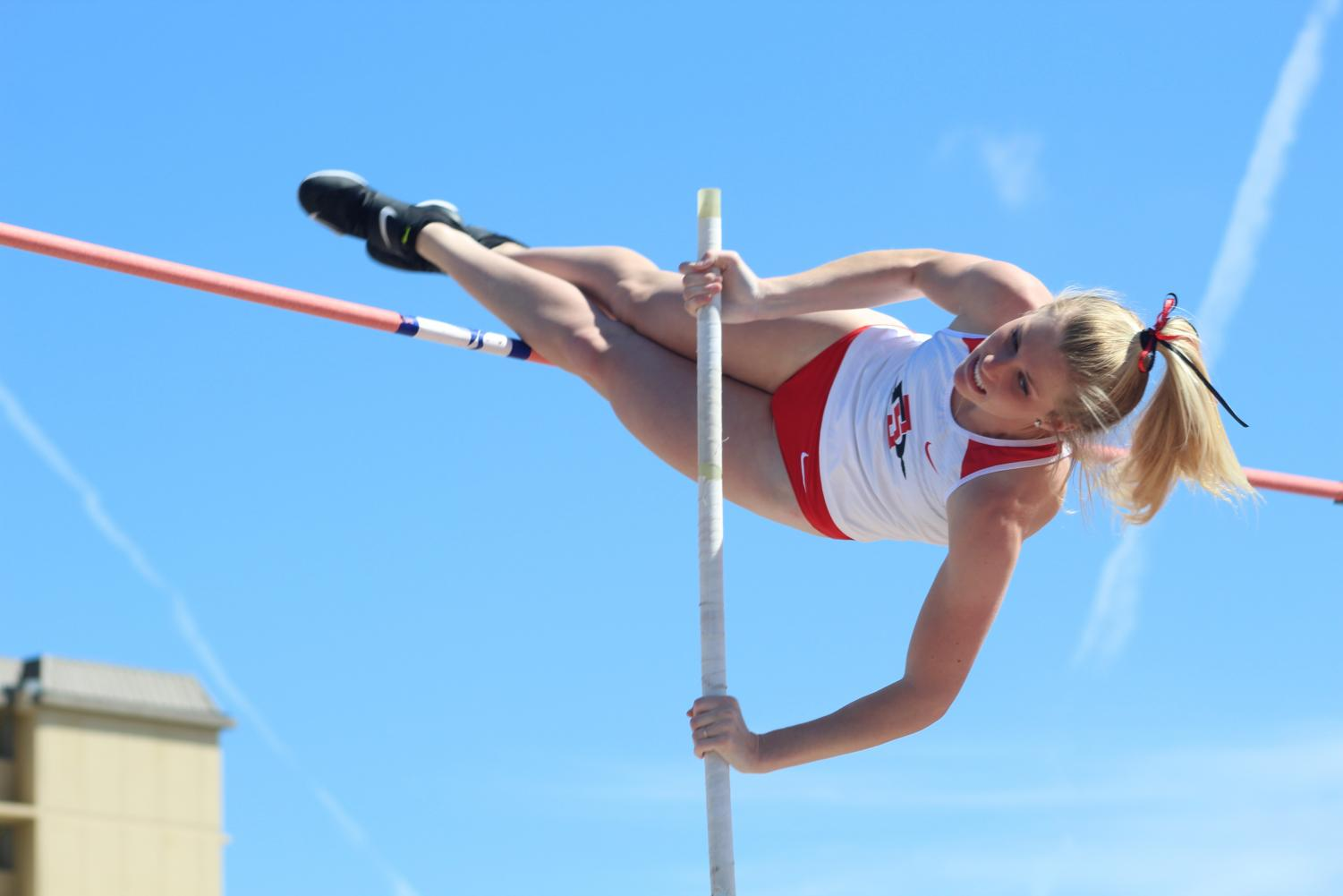Sophomore pole vaulter Taylor Alexander competes during the Aztec Open & Invitational at the Aztrack Sports Deck on March 23.