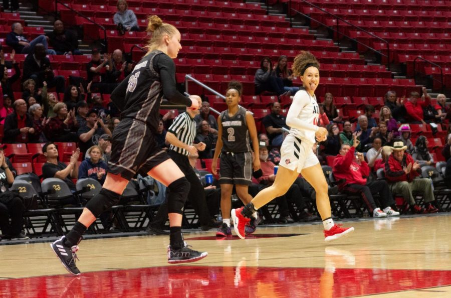 Sophomore+guard+Naje+Murray+runs+back+on+defense+during+the+Aztecs+64-61+victory+over+Nevada+on+March+7+at+Viejas+Arena.