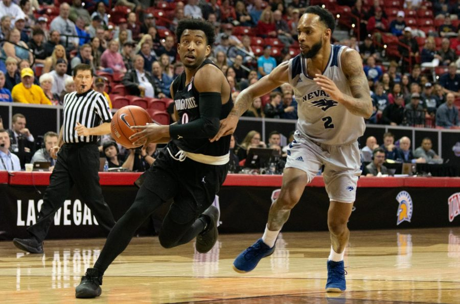 Senior guard Devin Watson drives to the hoop during the Aztecs 65-56 victory over Nevada on March 15 at the Thomas and Mack Center in Las Vegas, Nevada.