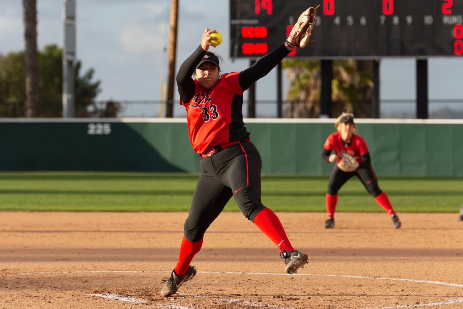 Junior pitcher Marissa Moreno pitches during the Aztecs 1-0 win over UC Santa Barbara on Feb. 16 at SDSU Softball Stadium.