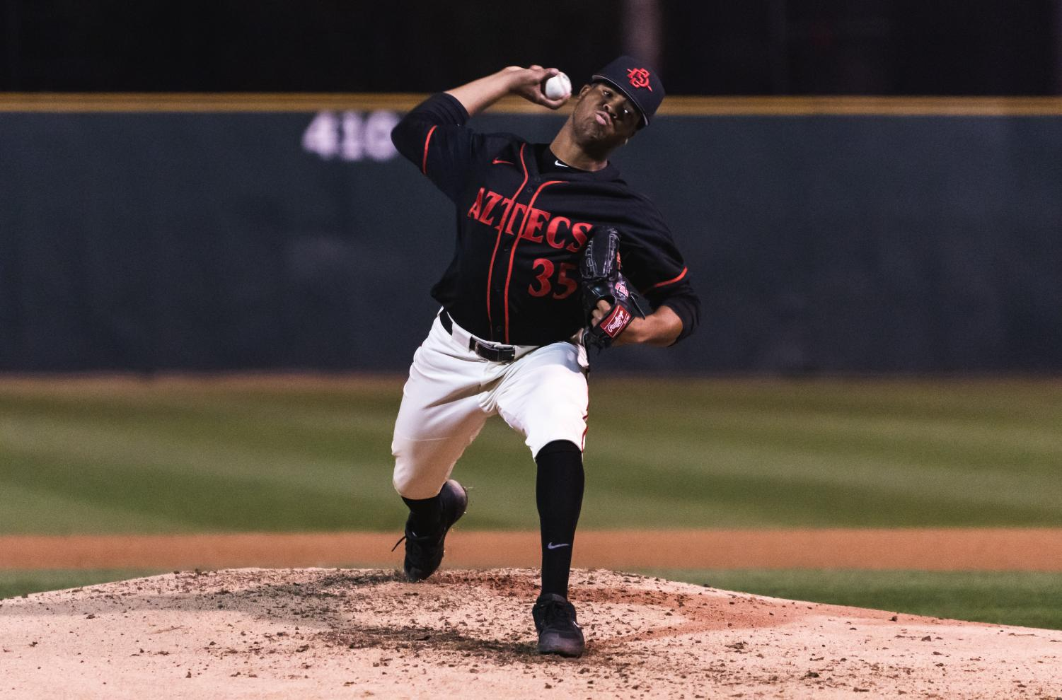 Freshman pitcher Aaron Eden works off the mound during the Aztecs 4-2 loss to San Diego on Feb. 26 at Tony Gwynn Stadium.