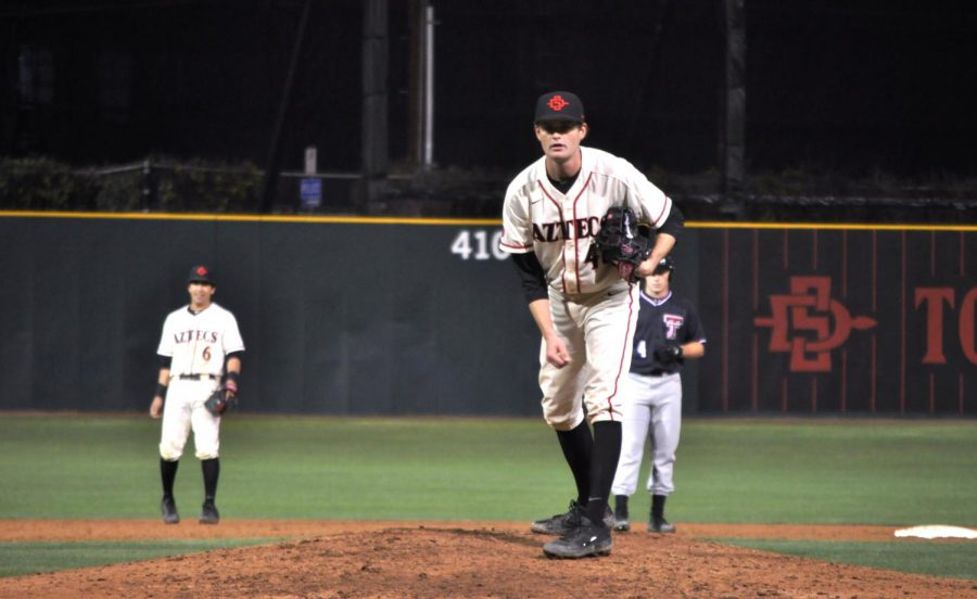 Redshirt+senior+pitcher+Justin+Goossen-Brown+readies+to+pitch+during+the+Aztecs%E2%80%99+5-1+loss+to+Texas+Tech+on+March+5+at+Tony+Gwynn+Stadium.