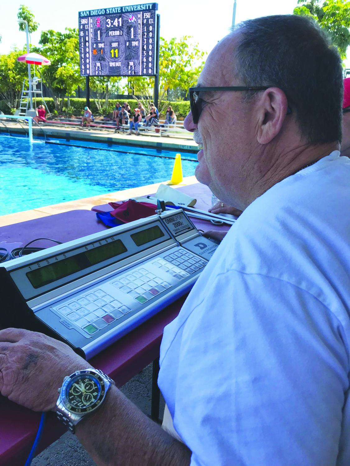 Steve Bartel working the scoreboard during an Aztec water polo match against Fresno State.