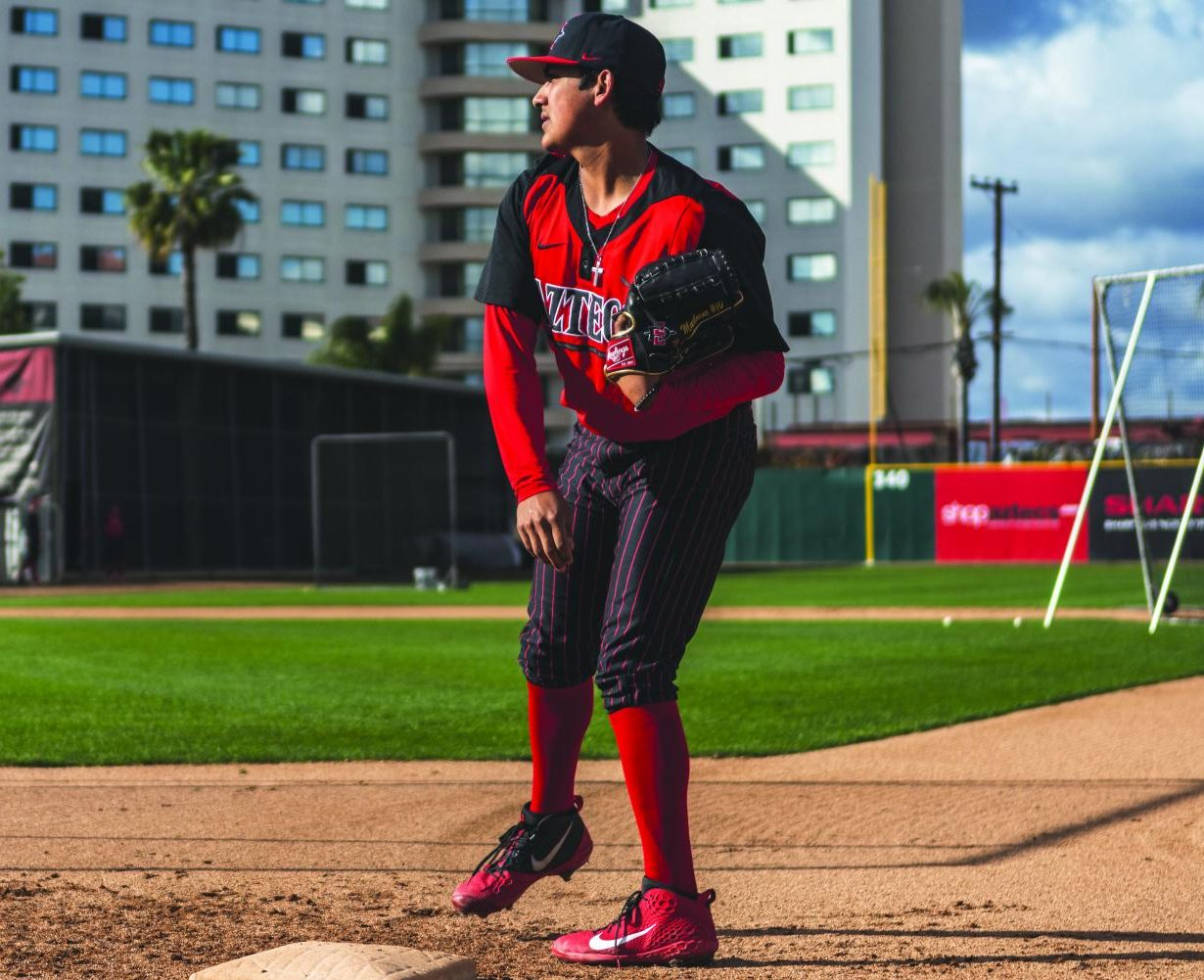 Junior pitcher Adrian Mardueno warms up before the Aztecs defeated Nevada, 3-1, on March 8 at Tony Gwynn Stadium.