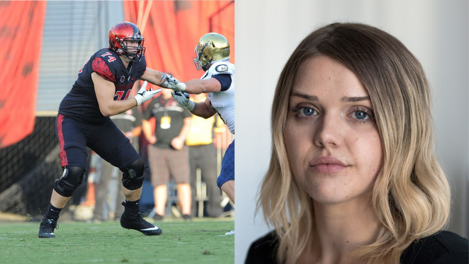 (Left) Tyler Roemer, former Aztecs left tackle. Courtesy of SDSU Athletics. (Right) Carly Heppler, communications senior who is accusing Romer of emotional and physical abuse.