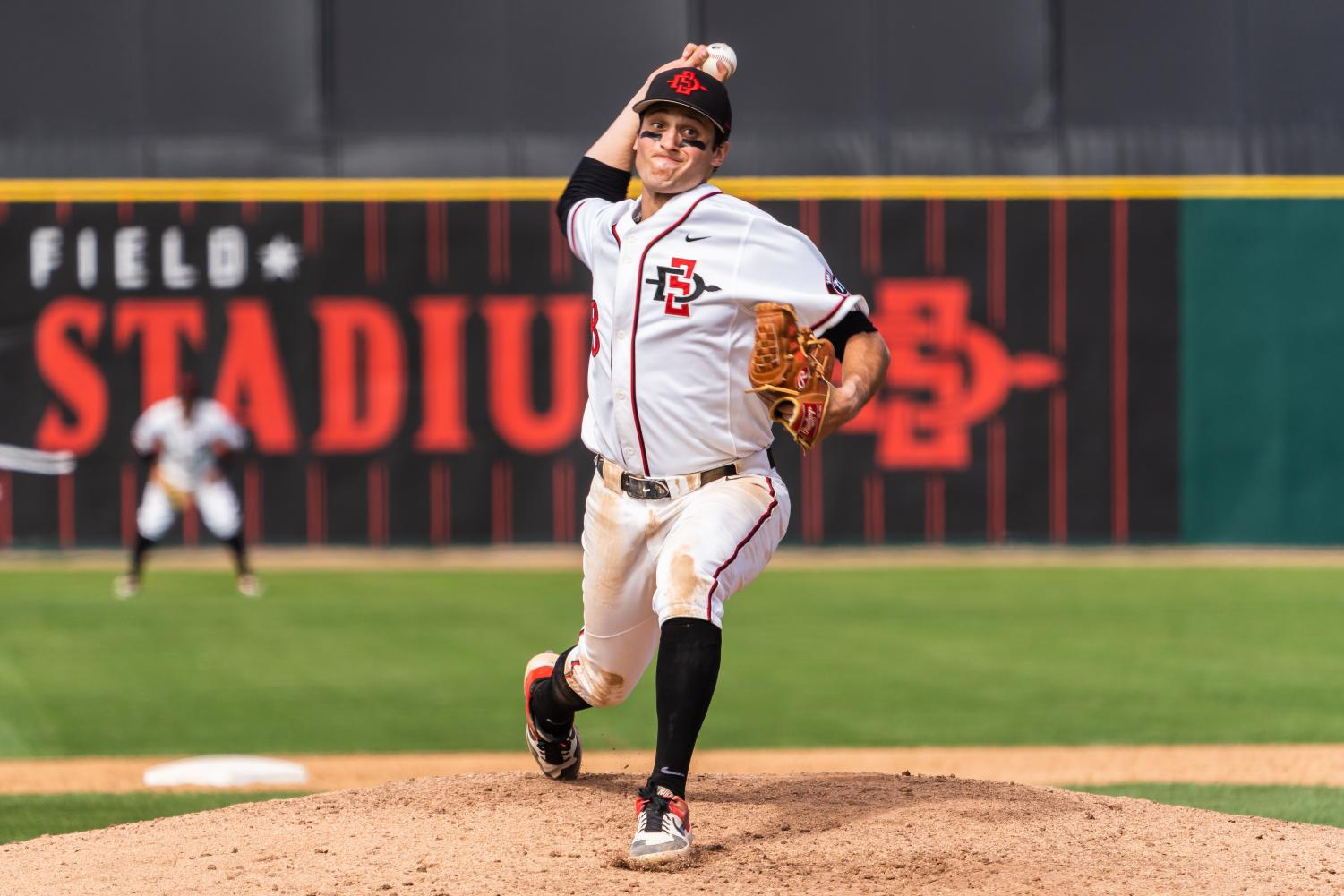 Then-sophomore pitcher Casey Schmitt pitches the Aztecs' 5-4 victory over Air Force on April 20, 2019 at Tony Gwynn Stadium.