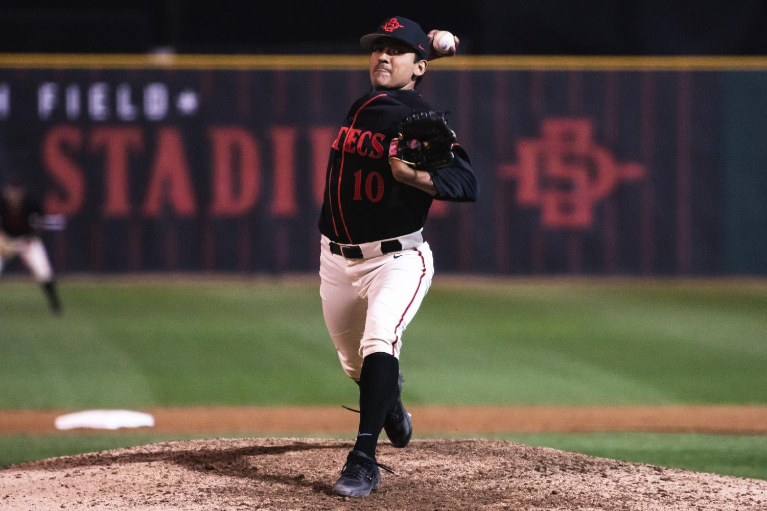Junior pitcher Adrian Mardueno prepares to throw a pitch during the Aztecs' 4-2 loss to San Diego on Feb. 26 at Tony Gwynn Stadium.