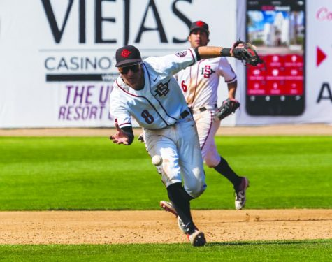 Then-sphomore third baseman Casey Schmitt makes a bareheaded throw to first base for the out during the Aztecs' 5-4 victory over Air Force on April 20, 2019 at Tony Gwynn Stadium.