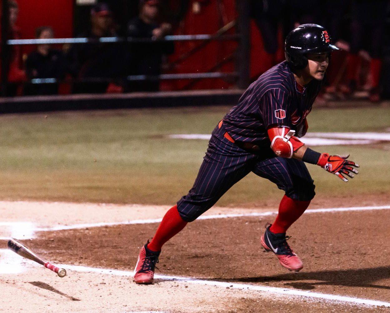 Sophomore outfielder Matt Ruddick runs down the first base line during the Aztecs' series against Nevada from March 8-10 at Tony Gwynn Stadium.