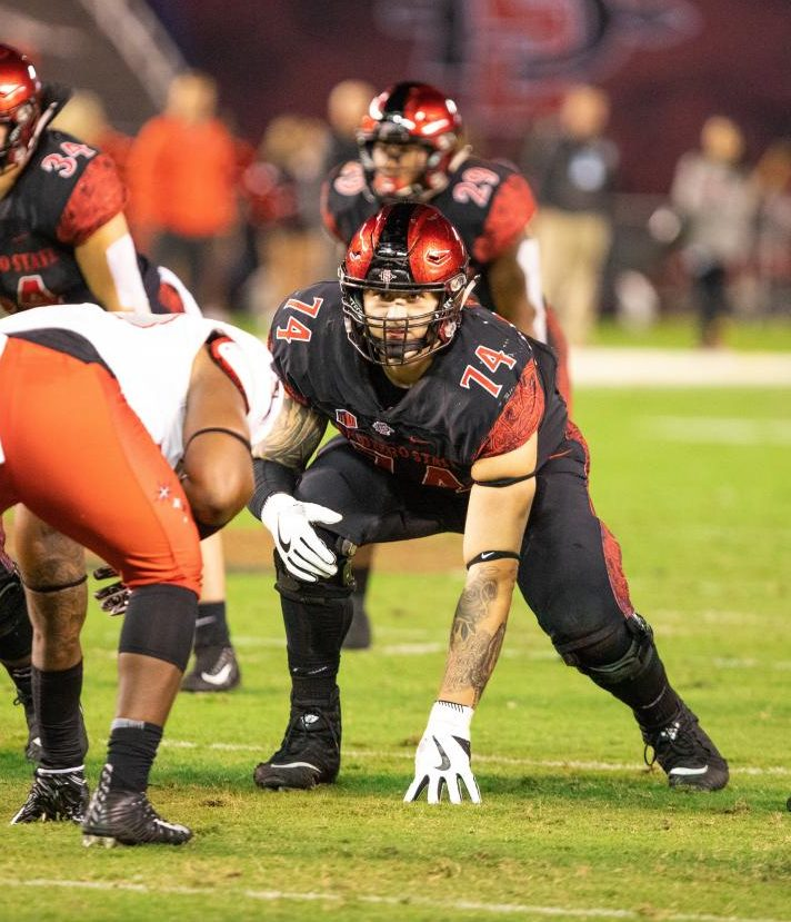 Tyler Roemer (74) lines up against defensive linemen during the Aztecs' 27-24 loss to UNLV on Nov. 10, 2018 at SDCCU Stadium.