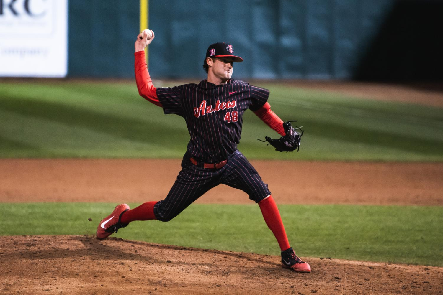 Senior pitcher Justin Goossen-Brown pitches during the Aztecs' 8-4 victory over San Francisco on Feb. 15 at Tony Gwynn Stadium.