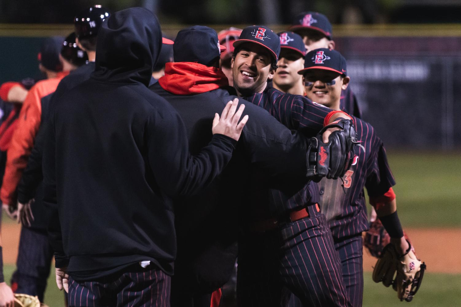Senior shortstop Angelo Armenta celebrates after clinching a victory during the Aztecs' series against Nevada from March 8-10 at Tony Gwynn Stadium.