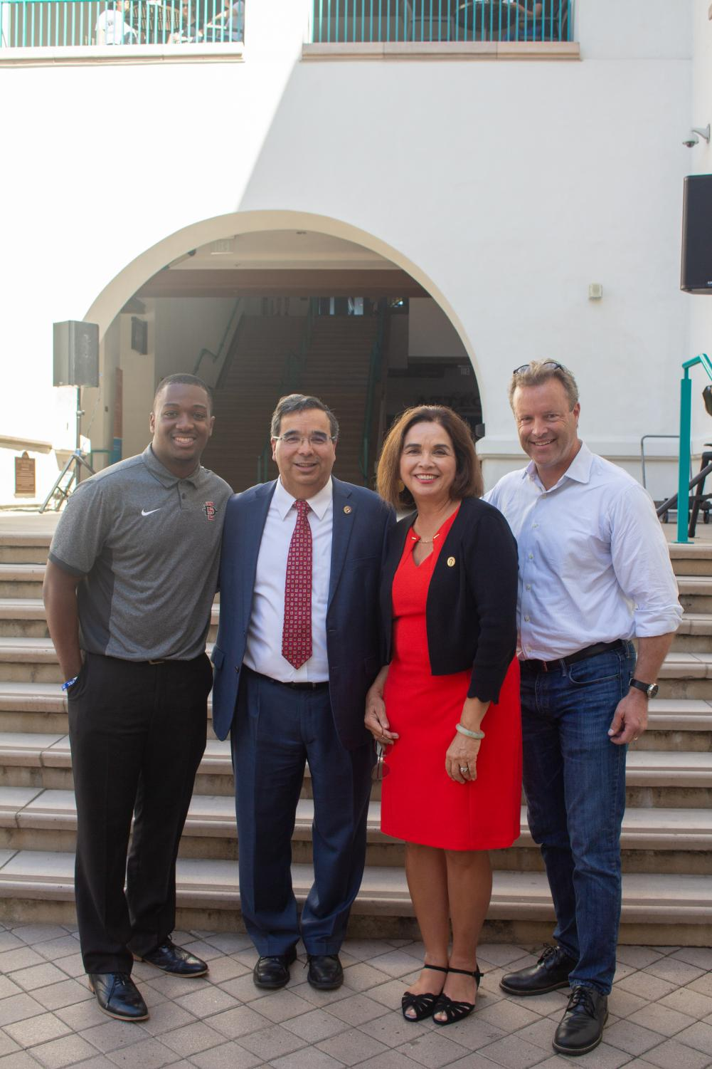 Pictured left to right: A.S. President Christian Onwuka, Provost and Senior Vice President Dr. Salvador Hector Ochoa, SDSU President Adela de la Torre, and Chair of the University Senate Mark Wheeler.