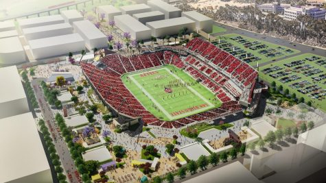 An aerial rendering of SDSU