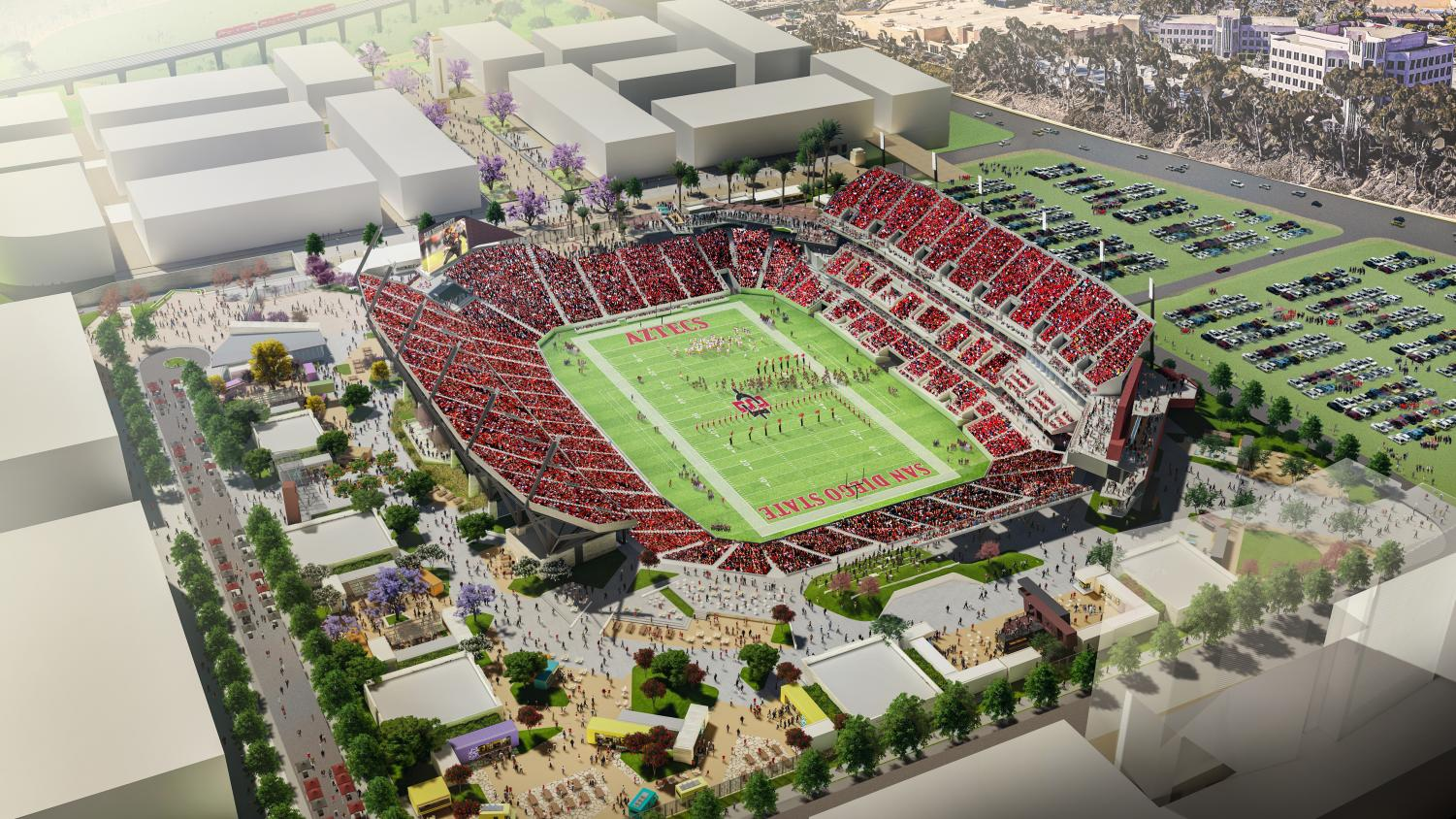 An aerial rendering of SDSU's proposed multi-use stadium at the site of its Mission Valley expansion.