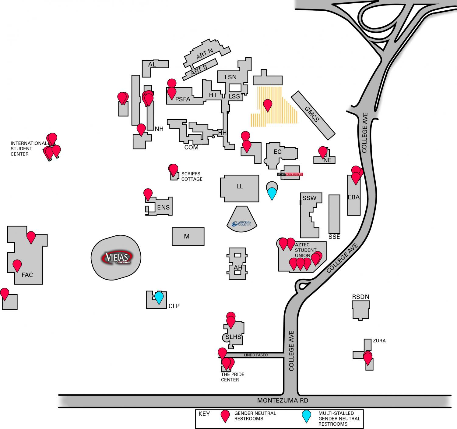This graphic shows all 32 of the gender neutral bathrooms on campus with three of them being multiple stalls and the others being singles.