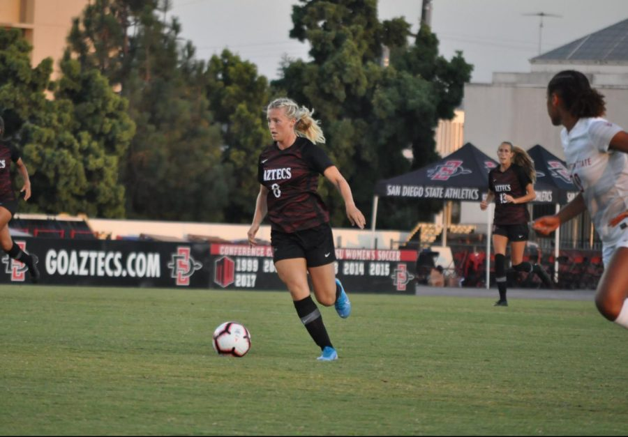 Junior+midfielder+Chloe+Frisch+dribbles+the+ball+upfield+in+an+exhibition+game+against+Washington+State+on+Aug.+16+at+SDSU+Sports+Deck.