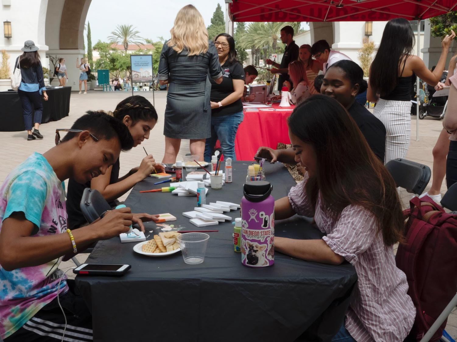 Paint your political scene was another way for students to get involved in the political conversation at the Conrad Prebys Aztec Student Union.