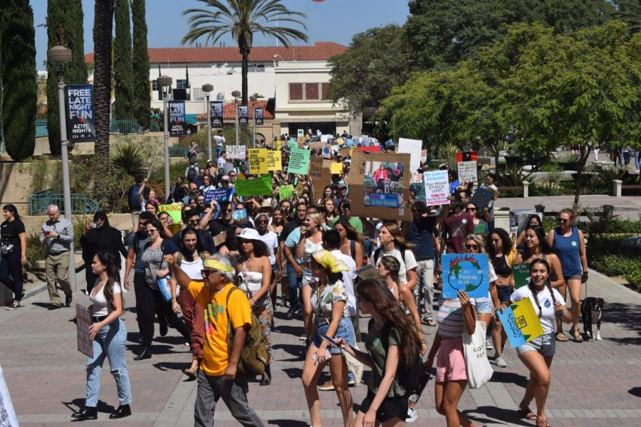 The+SDSU+community+marched+as+a+call+to+action+for+climate+change.+