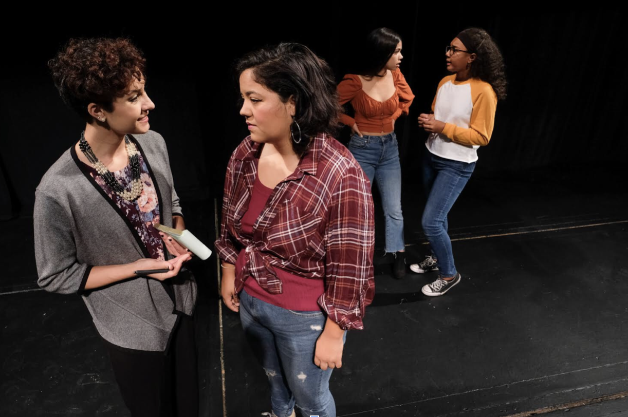 Left to right: Kennedy Garcia, Paloma Carillo, Laura Sandoval-Rivas, Maya Stokes practicing.