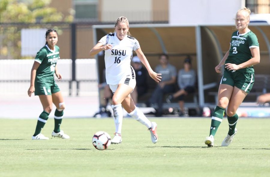 Senior forward Darcy Weiser dribbles the ball during the Aztecs' 2-0 win over Colorado State on Sept. 29 at the SDSU Sports Deck.