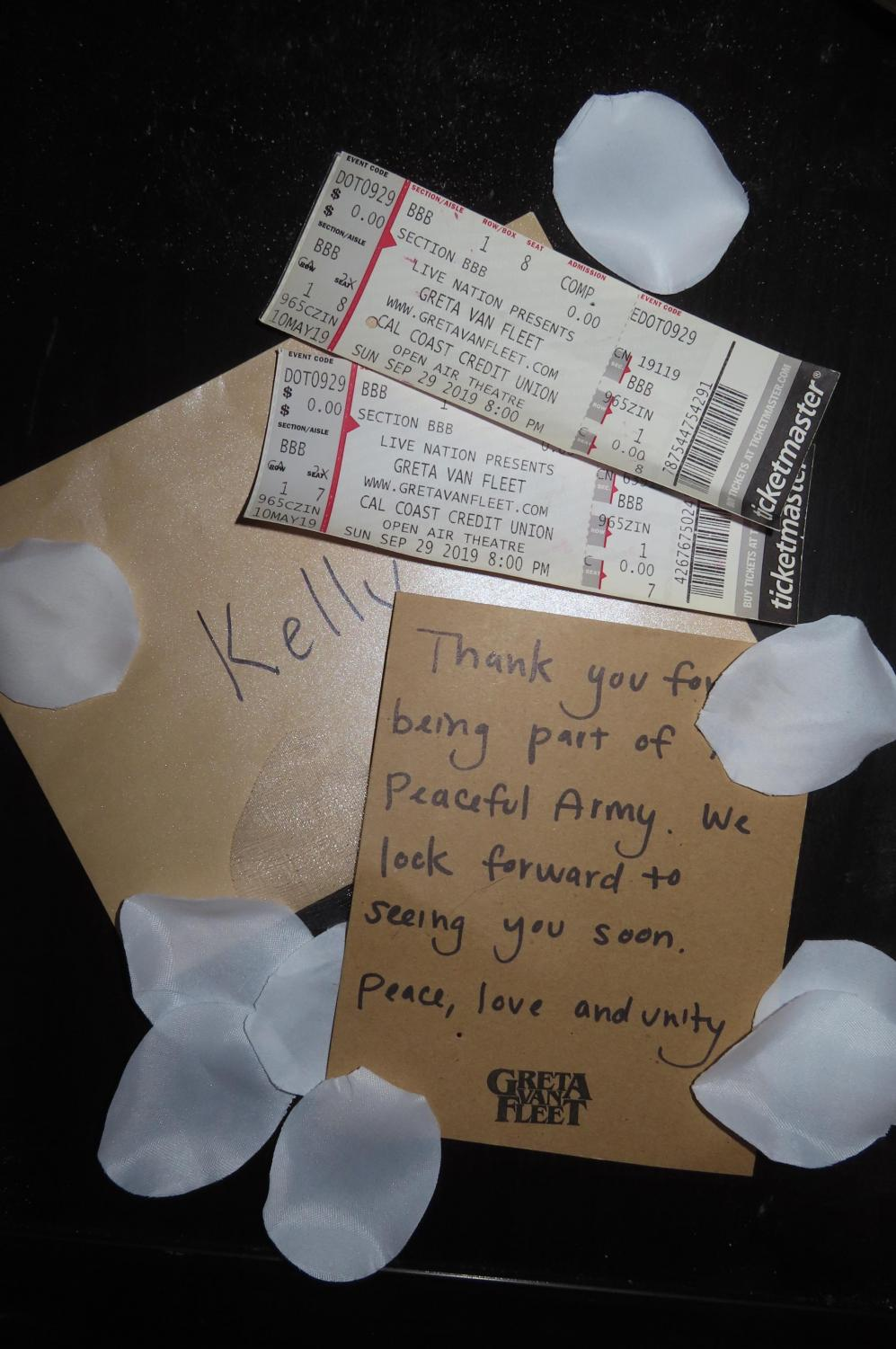 Kelly Shea Kerrigan received a personal note and free front row seats to see one of her favorite bands, Greta Van Fleet.