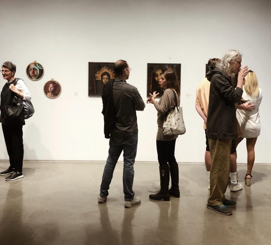 Over 30 people attended the opening ceremony for Luis Gonzalez Palmas new exhibit.