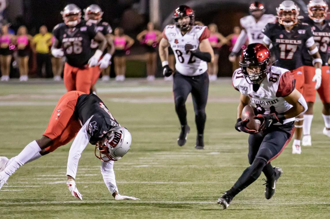 Sophomore wide receiver Ethan Dedeaux catches a 49-yard touchdown in the Aztecs' 20-17 win over UNLV on Oct. 26 at Sam Boyd Stadium in Las Vegas.