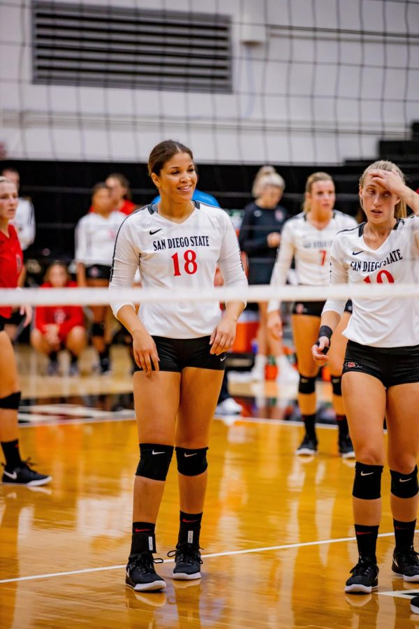 Senior middle blocker Tamia Reeves during the Aztecs' 3-1 loss to UNLV on Oct. 5 at Peterson Gym.