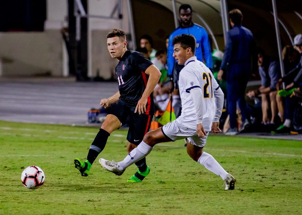 Senior midfielder Adam Vargas passes the ball in the Aztecs' 4-0 loss to Cal on Oct. 10 at the SDSU Sports Deck.