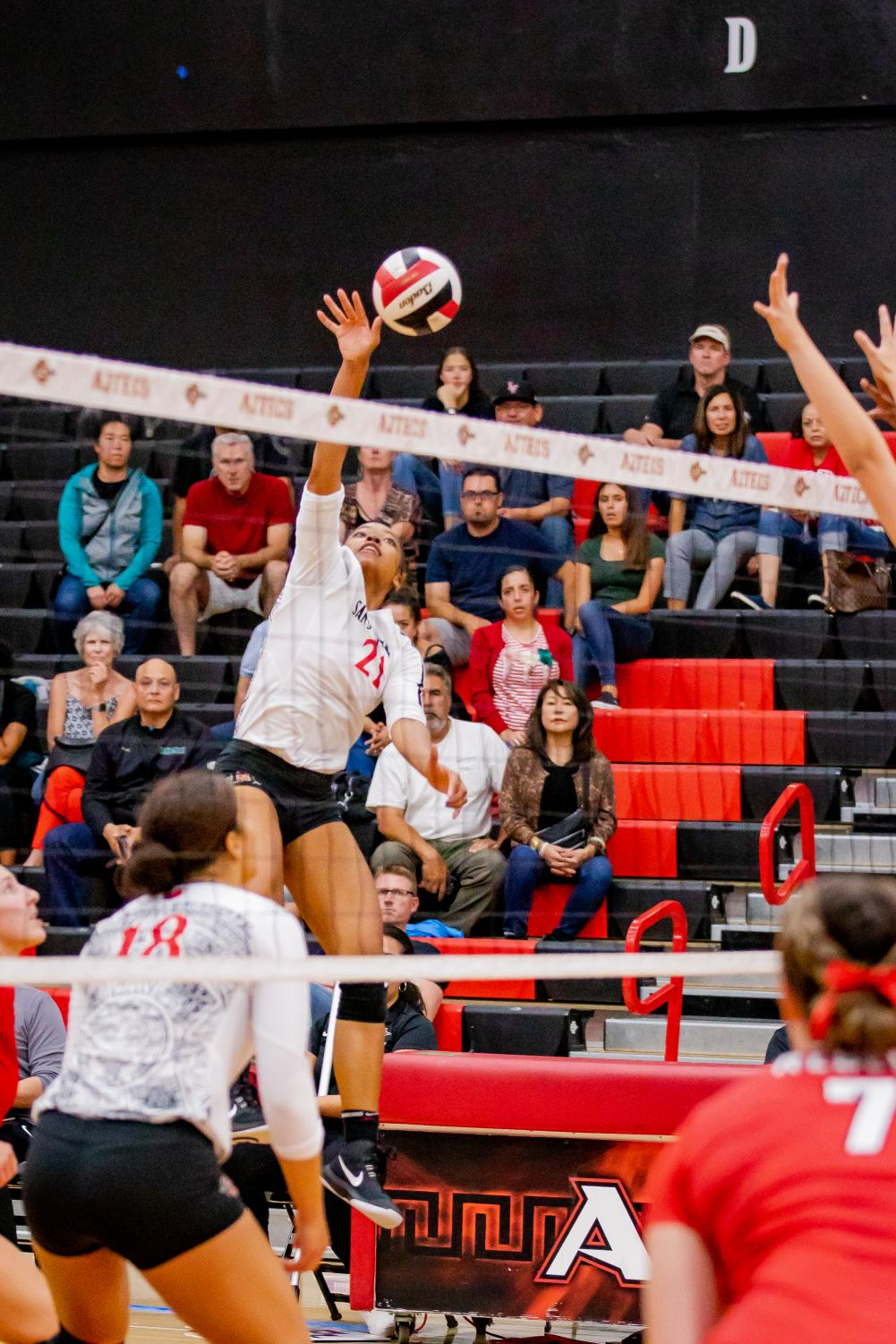 Sophomore outside hitter Victoria O'Sullivan spikes the ball in the Aztecs' 3-1 loss to UNLV on Oct. 3 at Peterson Gym.