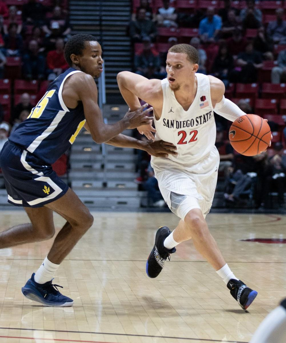 Fans got their first look at transfer junior guard Malachi Flynn during the Aztecs' 81-56 exhibition win over UCSD on Oct. 30 at Viejas Arena.