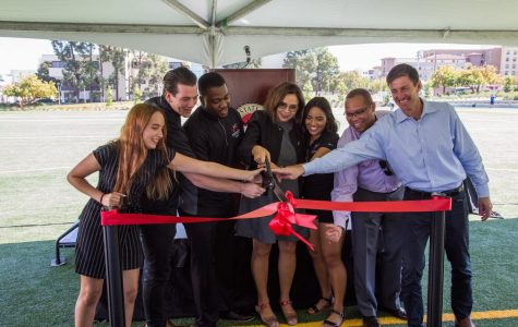 Members of San Diego State's administration joined student leaders and Aztec Recreation staff to dedicate the renovated ENS 700 field.