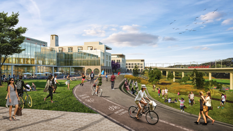 Rendering+of+the+proposed+SDSU+West+river+park+and+bike+trail.+